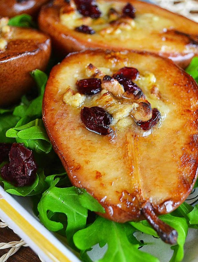Roasted Pears with Brie, Walnuts & Cranberries | rusticplate.com