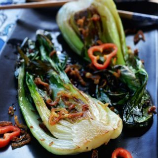 bok choy with shallot oil & crispy shallots | rusticplate.com