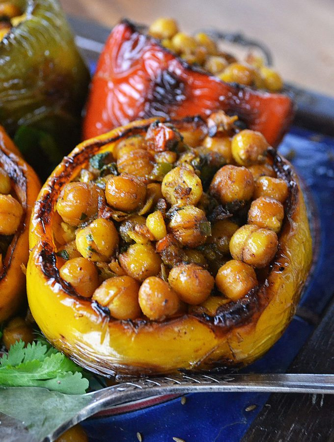 spiced chickpea stuffed peppers