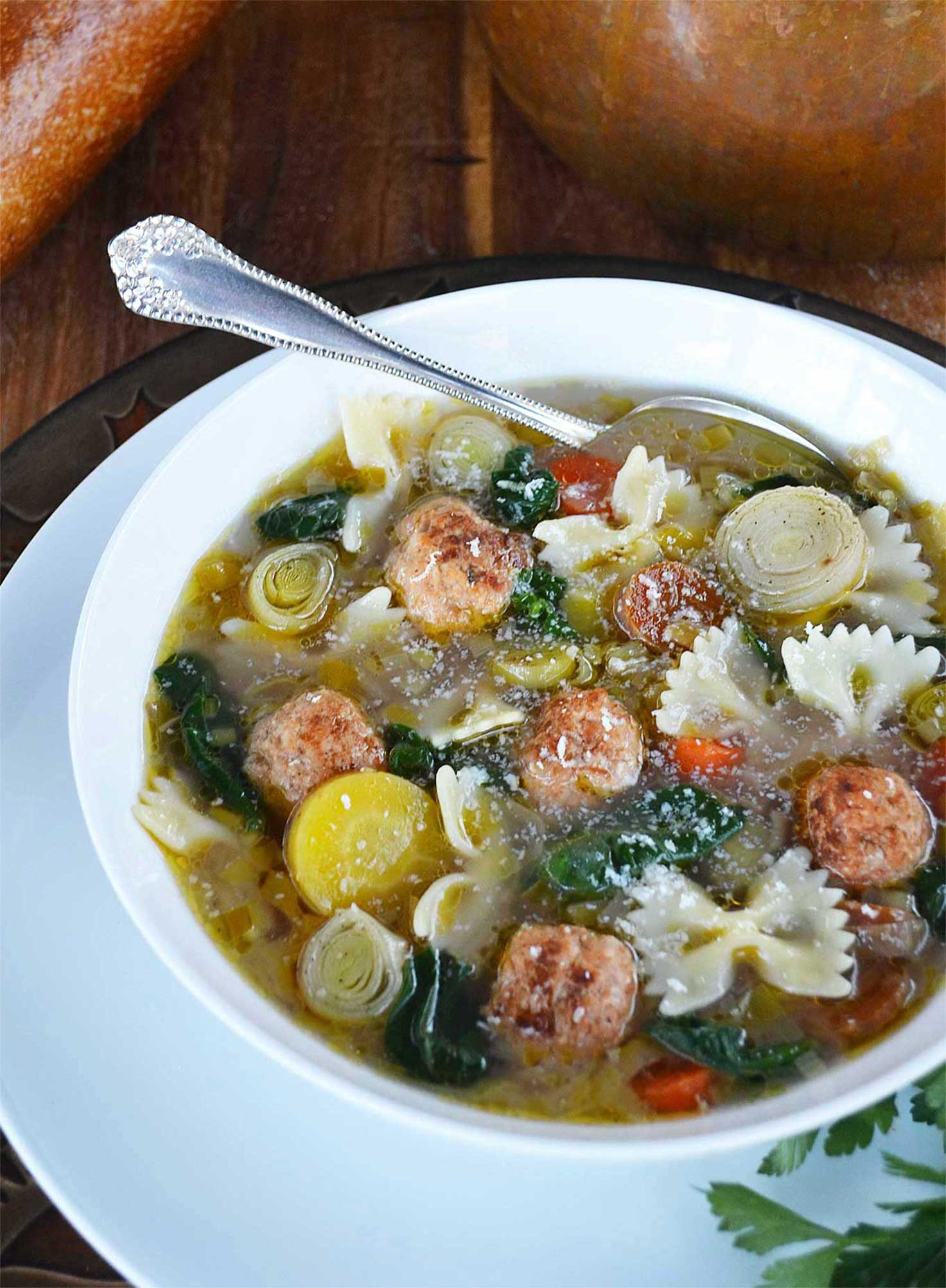 farfalle pasta, vegetable & chicken meatball soup | rusticplate.com