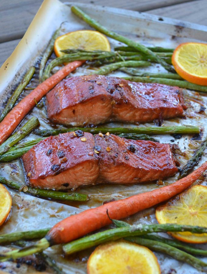 sheet pan honey-glazed salmon & vegetables