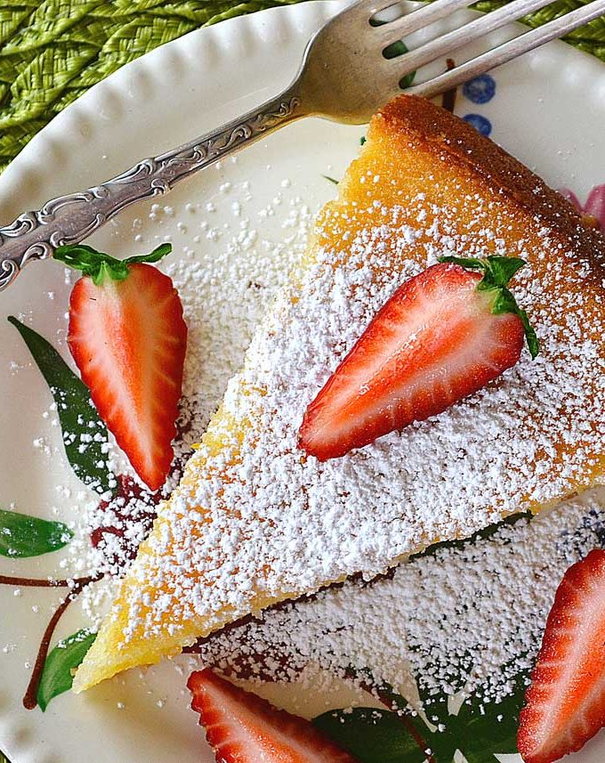 ricotta cake with lemon zest & fresh strawberries