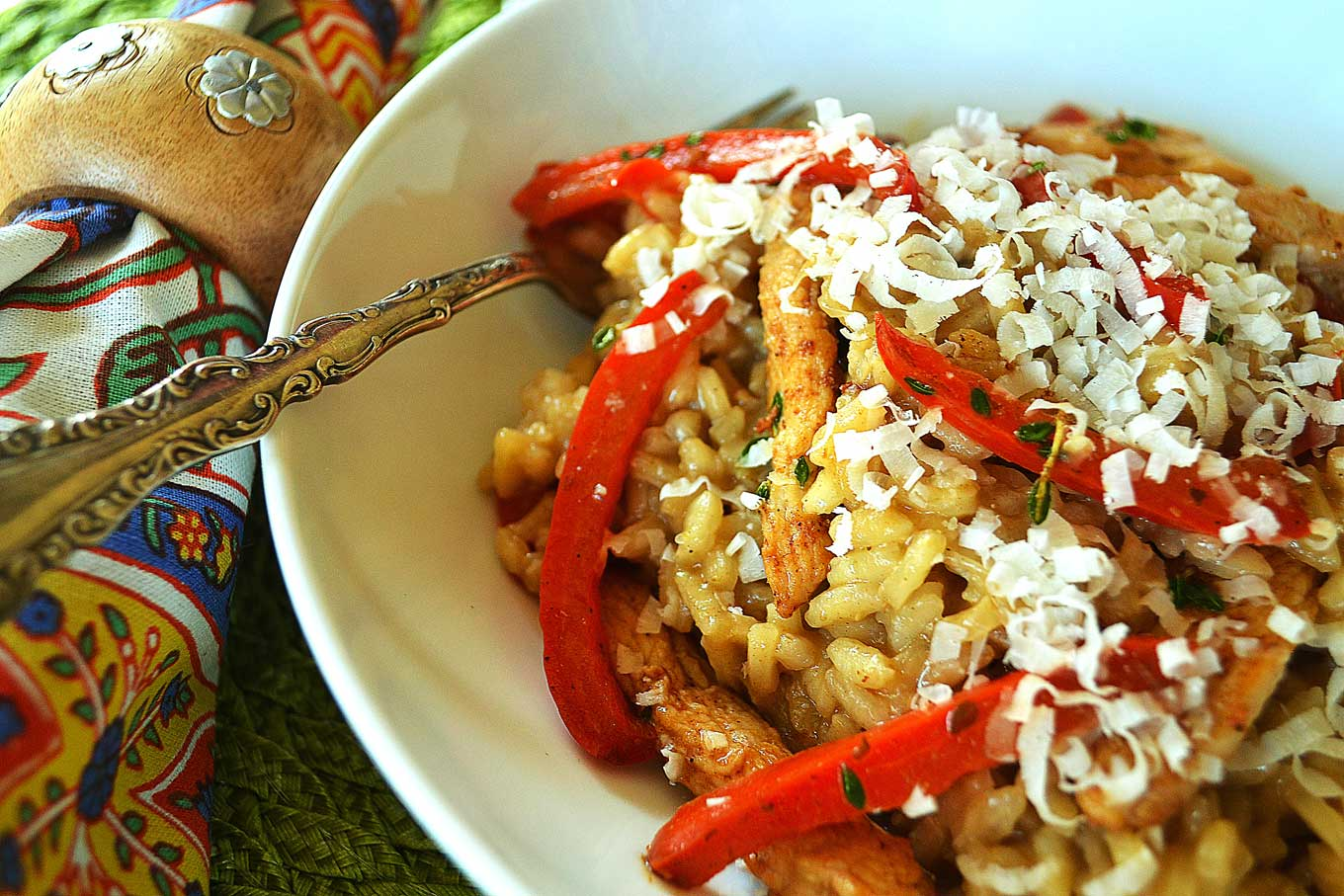 risotto with chicken, thyme & red pepper | rusticplate.com