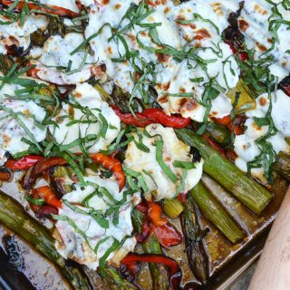 roasted asparagus & red bell peppers with bubbly mozzarella | rusticplate.com