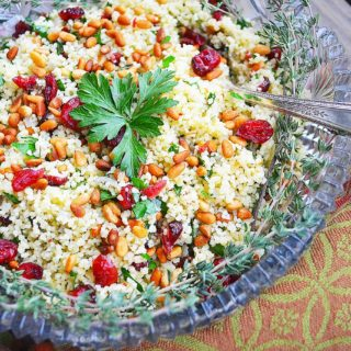 herbed couscous pilaf with cranberries & pine nuts