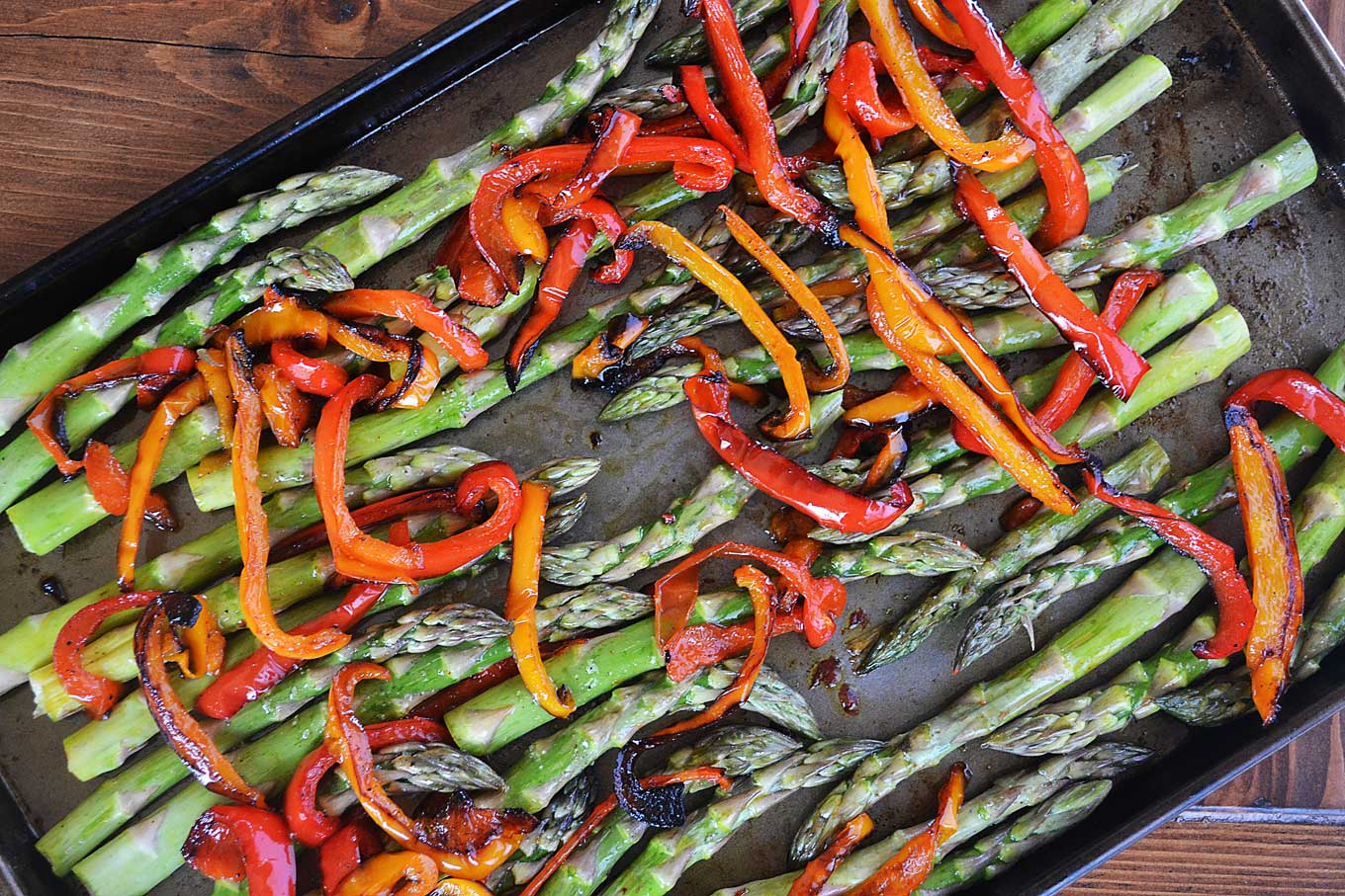 roasted asparagus  red bell peppers with bubbly mozzarella