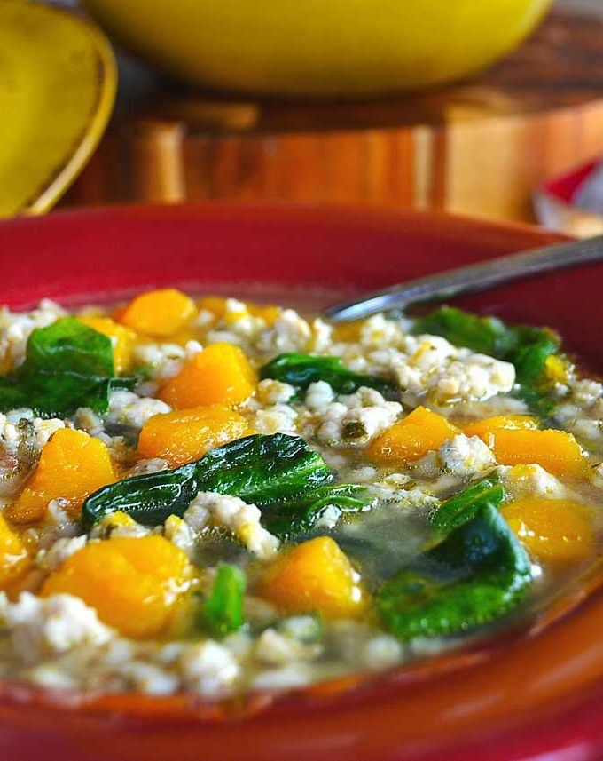 barley soup with butternut squash, spinach & sausage