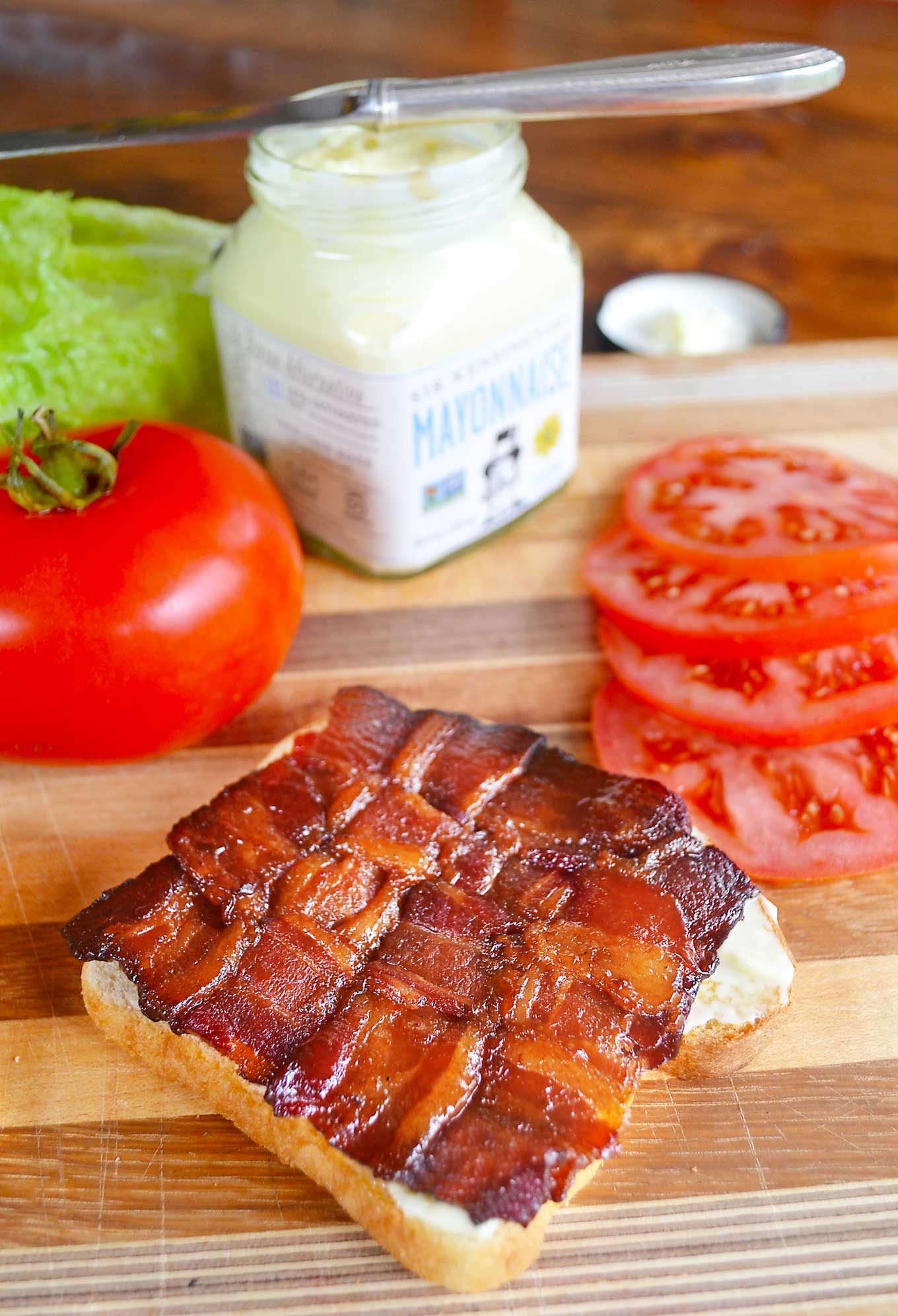 coffee & maple syrup glazed bacon weaves | rusticplate.com