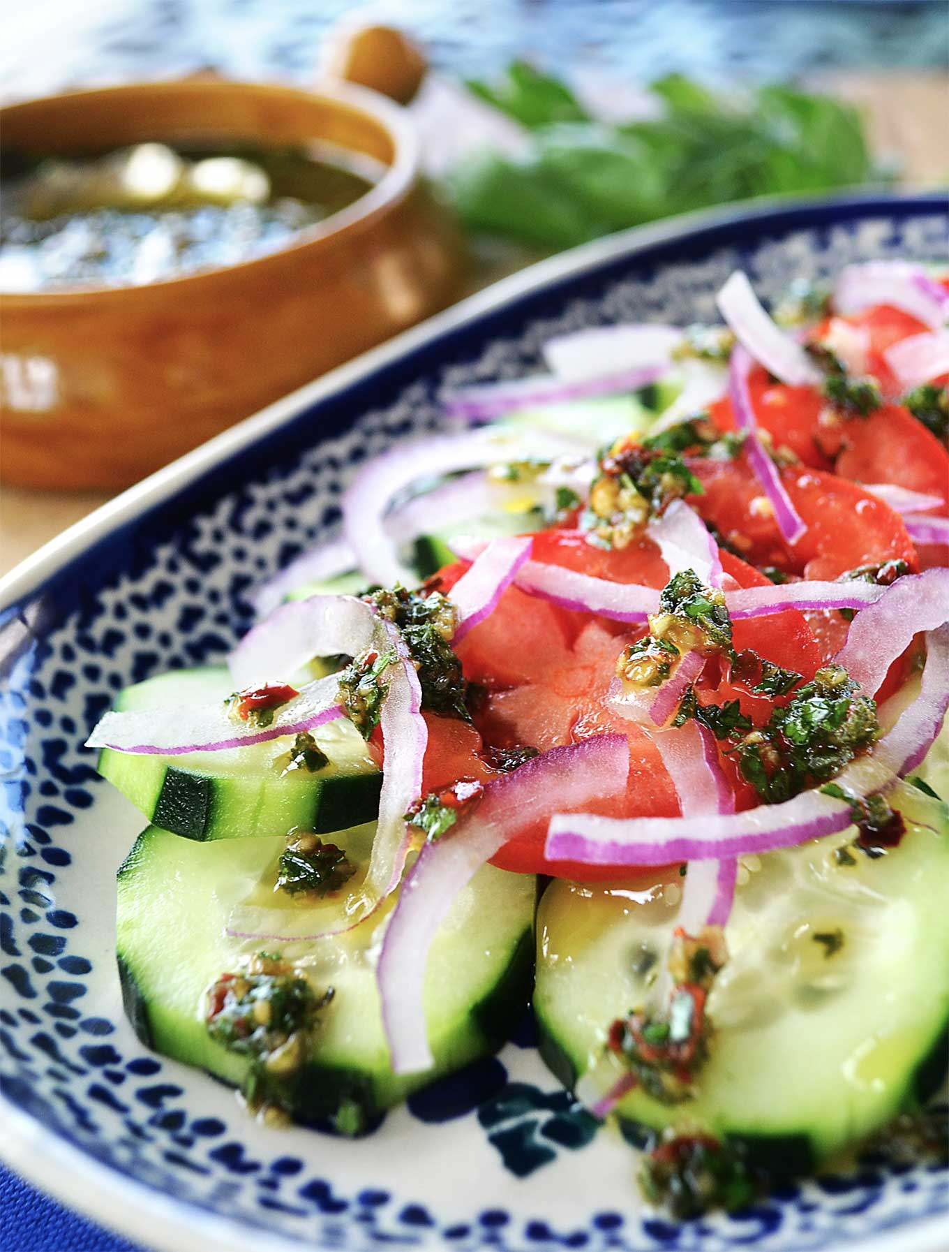 Cucumber & Tomato Salad with Chimichurri Sauce | rusticplate.com