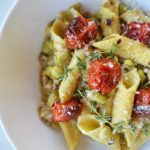 garganelli pasta with fava beans, pancetta & roasted cherry tomatoes | rusticplate.com