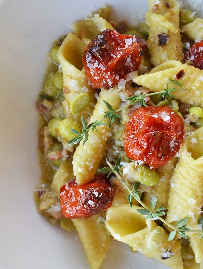 garganelli pasta with fava beans, pancetta & roasted cherry tomatoes