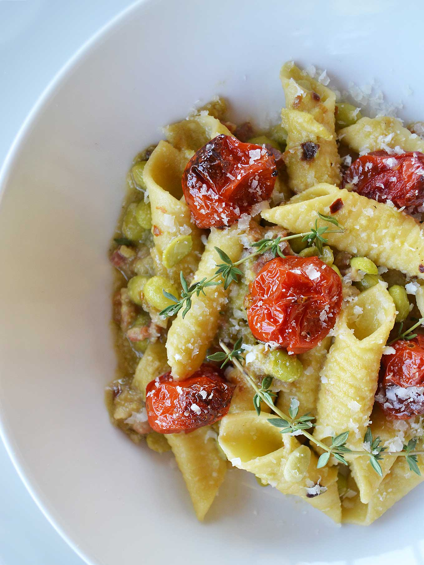 garganelli with fava beans, pancetta & roasted cherry tomatoes | rusticplate.com