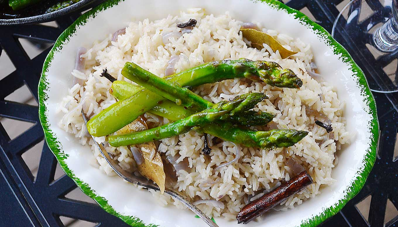 fragrant red onion rice pilaf | rusticplate.com