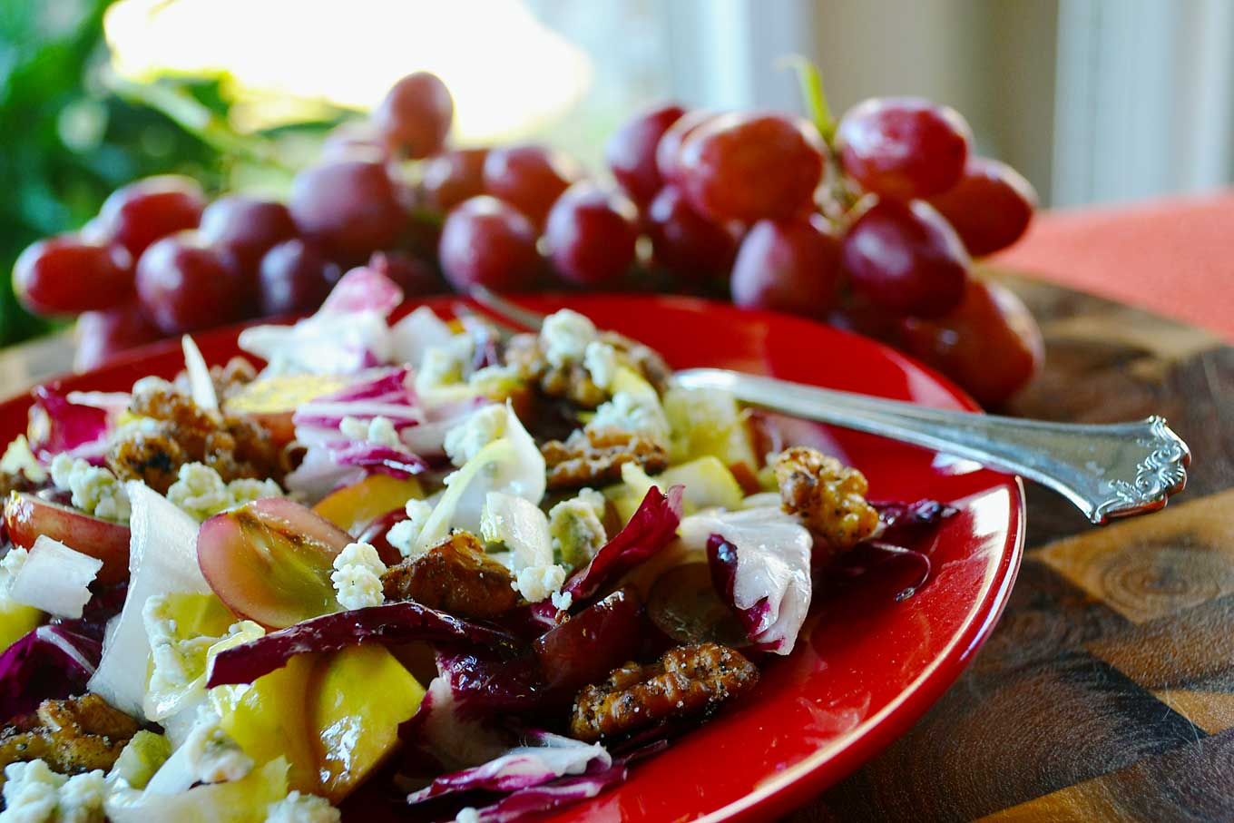 harvest salad with spiced walnuts & blue cheese | rusticplate.com