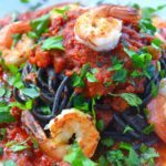 onyx spaghetti with shrimp & pistou | rusticplate.com