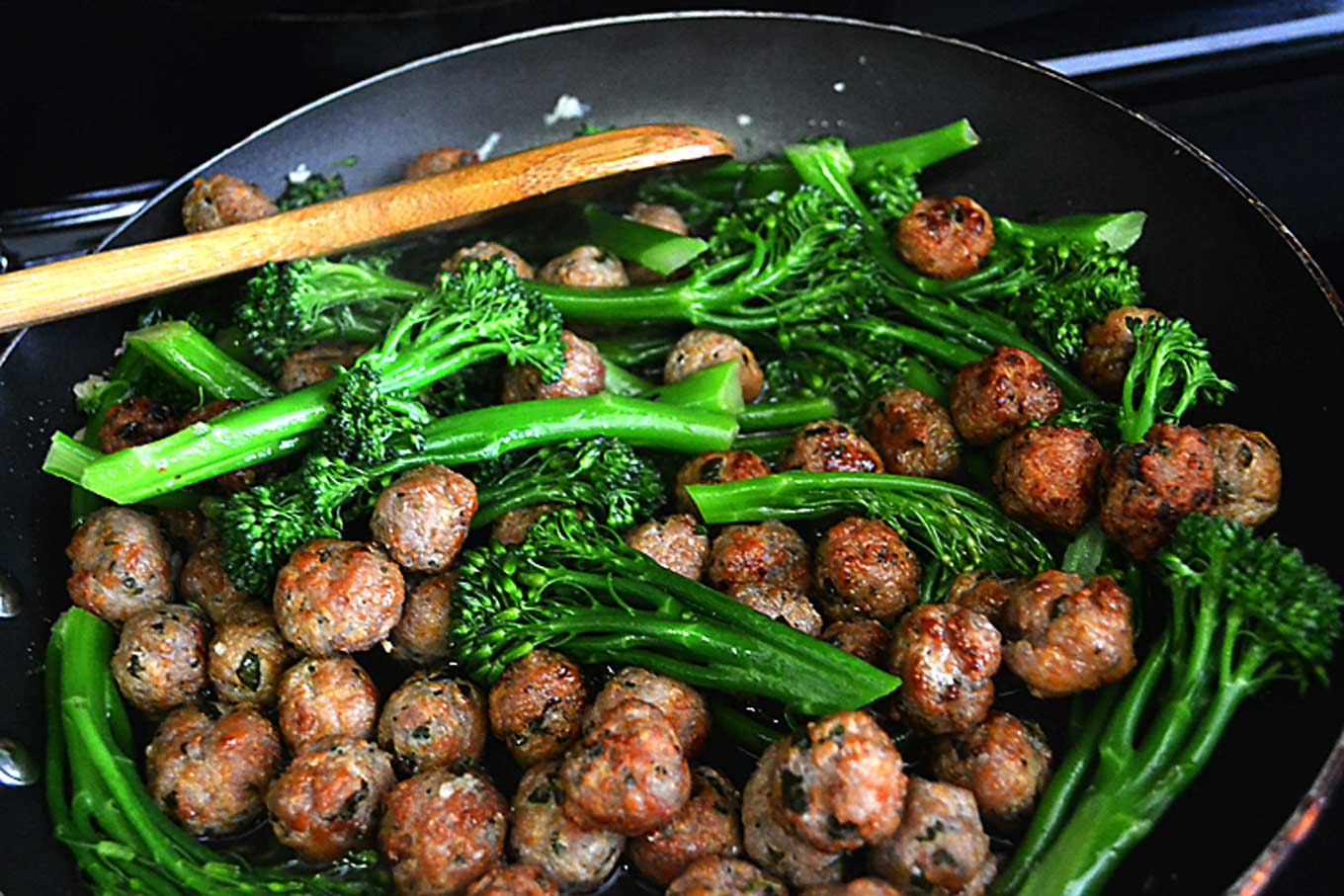 orecchiette with broccolini & sausage meatballs | rusticplate.com