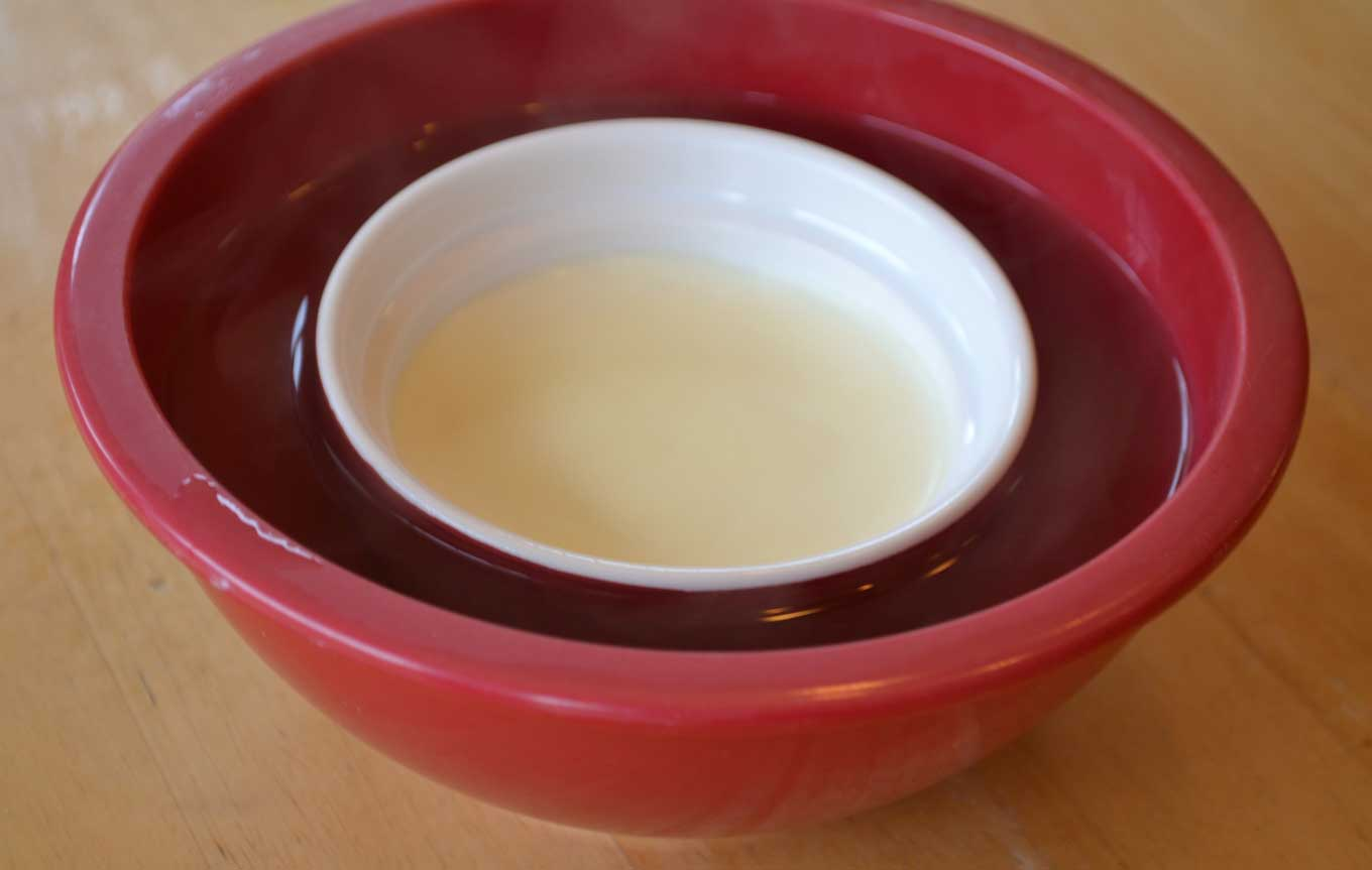 place in hot water bowl