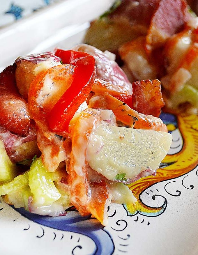 roasted red pepper & bacon potato salad