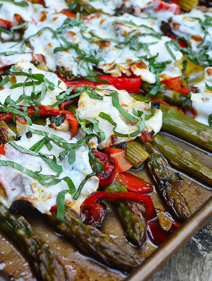 roasted asparagus & red bell peppers with bubbly mozzarella