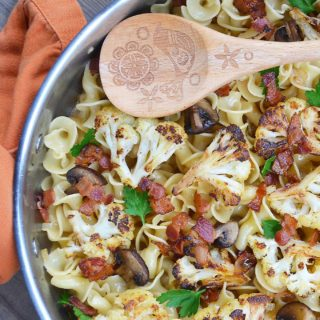 roasted cauliflower pasta with mushrooms & pancetta | rusticplate.com
