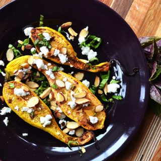 roasted summer squash with feta cheese & toasted almonds| rusticplate.com