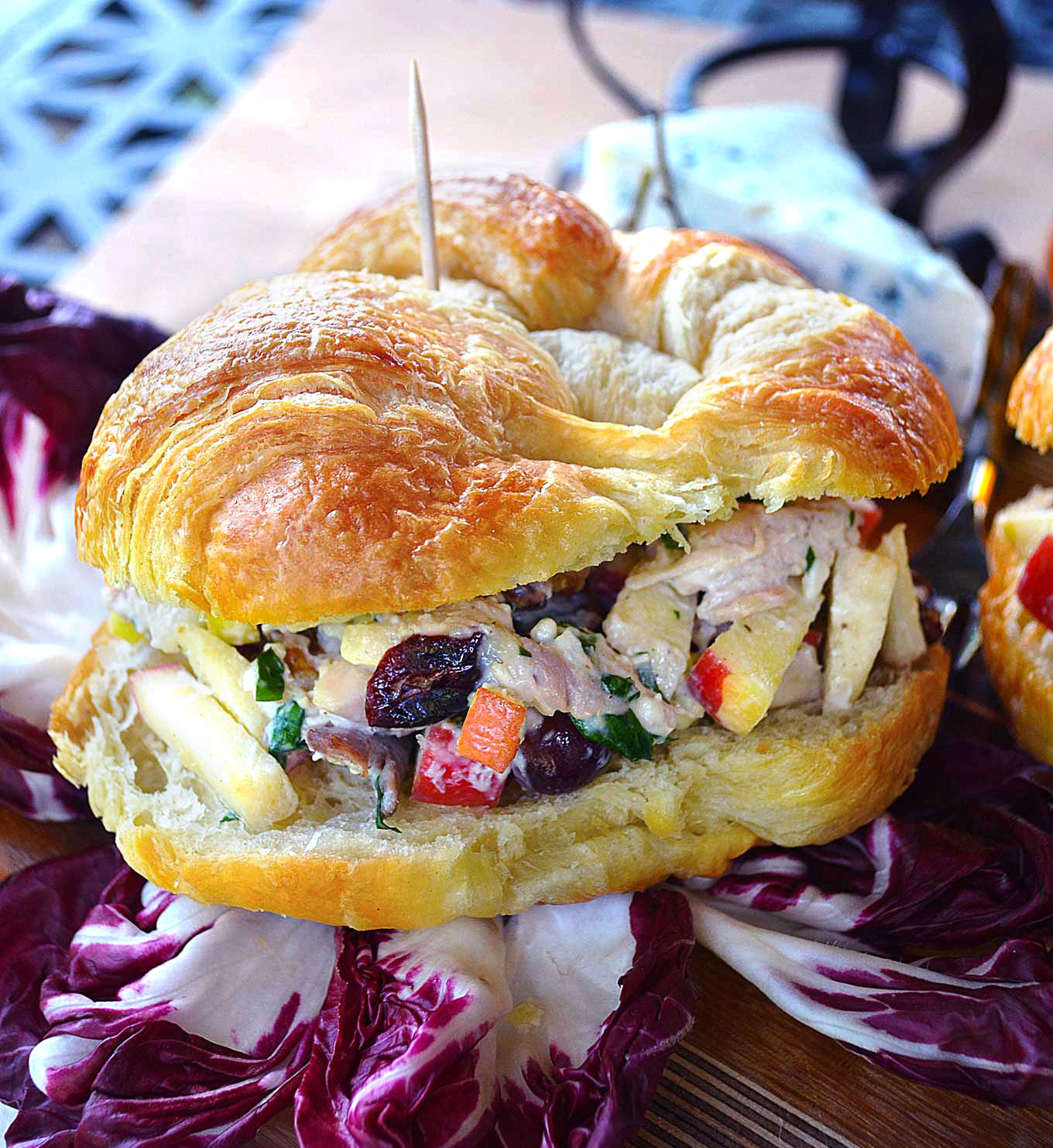 rotisserie chicken & fruit salad croissant sandwiches | rusticplate.com